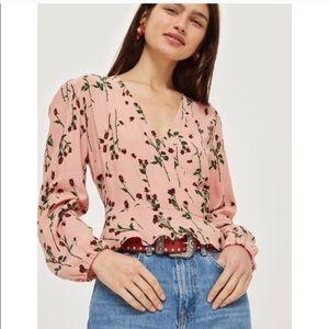 TOPSHOP pink floral crop wrap top size 10